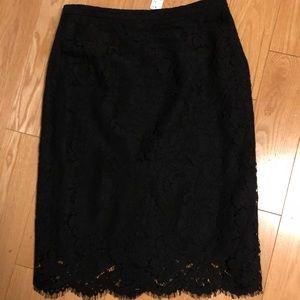 JCrew NWT Black Lace Pencil Skirt Size 8